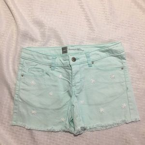 Mossimo Aqua Rough Cut Jean Shorts w/ Embroidery